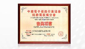 中国电子仪器行业协会会员证书